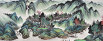 中国美术学会吴大恺青绿龙8国际long8作品《归舟图》