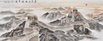 本幅《金色长城耀华夏》构图源于人民大会堂悬挂的巨幅山水画《万里长城》。