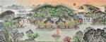 易天也山水画作品《至尊聚宝盆》满含旭日东升,鸿运当头之意,财运如浩浩瀑布水,绵绵不息,颇受海内外人士喜爱。也是定制率最高的一幅风水画。