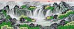 李林宏青绿国画聚宝盆C款作品《源远流长》