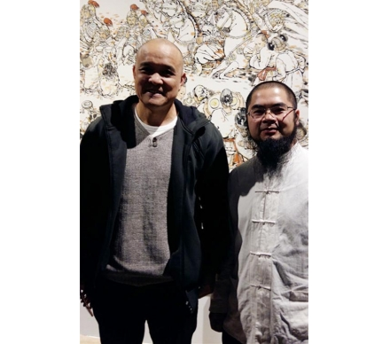 中國人物畫壇寫實派畫家史國良和吳大愷合影