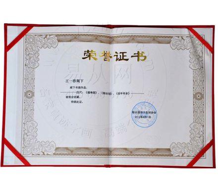 王一容作品獲獎證書