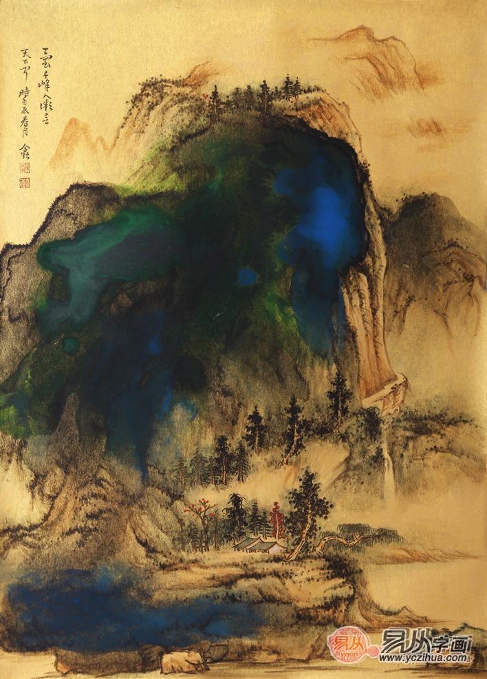 魏金岭小尺竖幅山水画作品《金笺山水画系列之九》图片