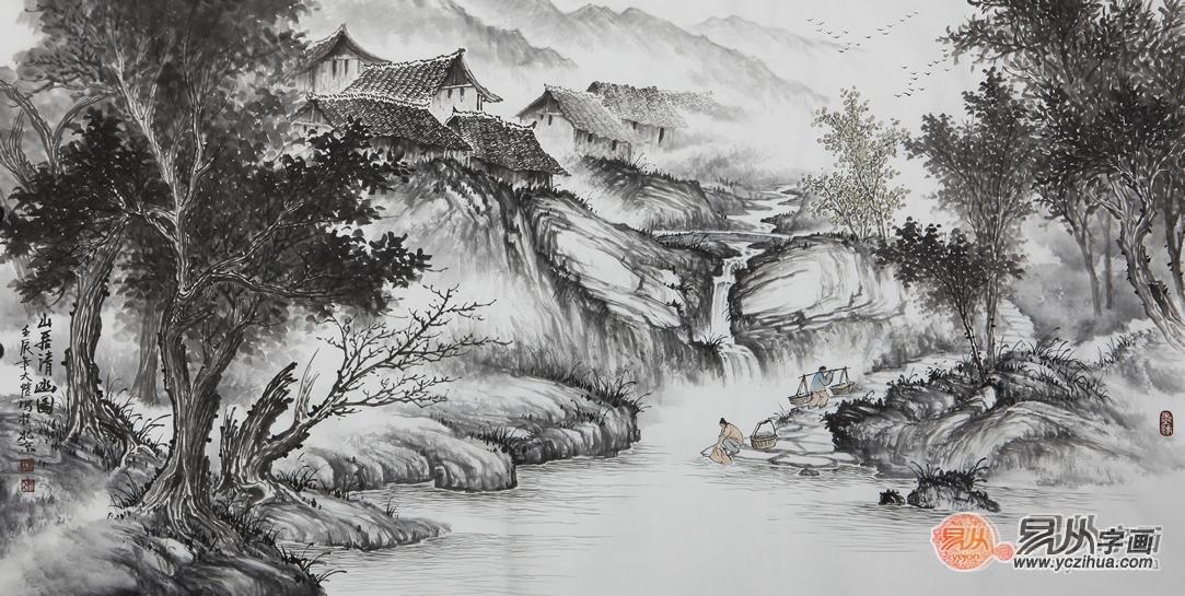 吴大恺四尺横幅山水画作品《山居清幽图》-文房四宝中华艺术文化的