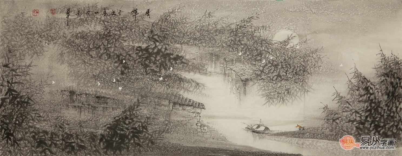 澳门百家乐玩法:高山六尺横幅山水画作品《晴晖》