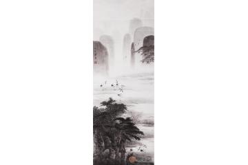 华卧石三尺竖幅动物画作品《仙鹤作品之二》