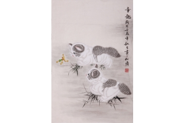 松涛小尺寸竖幅动物画作品猫《童趣》