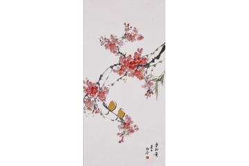 仇谷三尺豎幅作品桃花《花鳥畫系列之九》