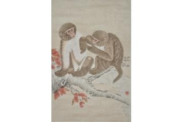 姚松涛小尺竖幅动物画作品《猴子》