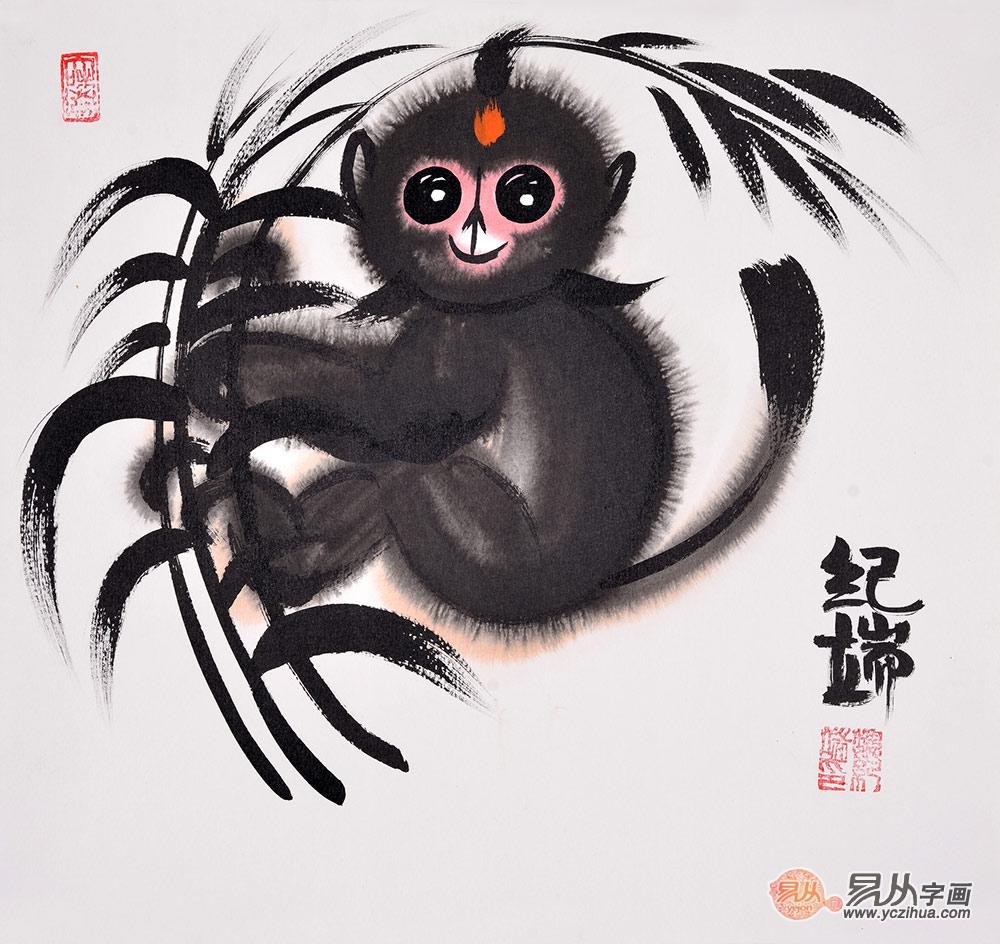 纪端小尺寸动物画作品十二生肖之《猴》