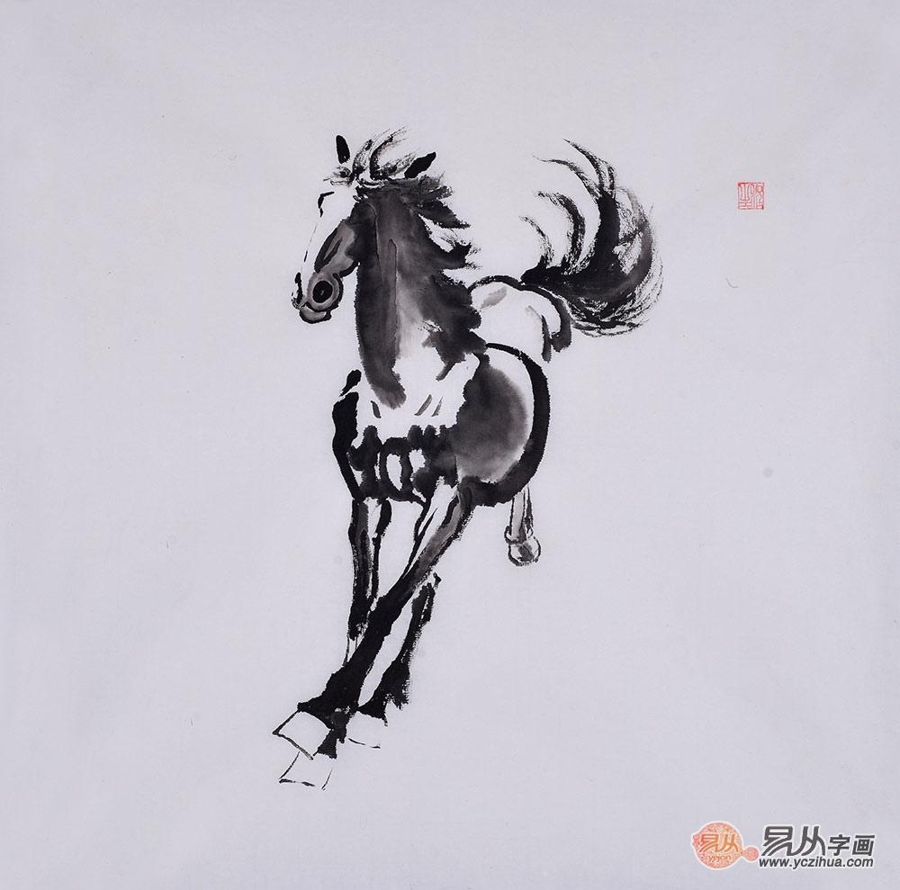 程生三尺斗方动物画作品《马》之四-【易从网】