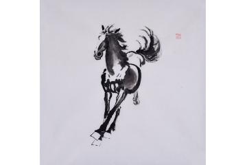 程生三尺斗方动物画作品《马》之四