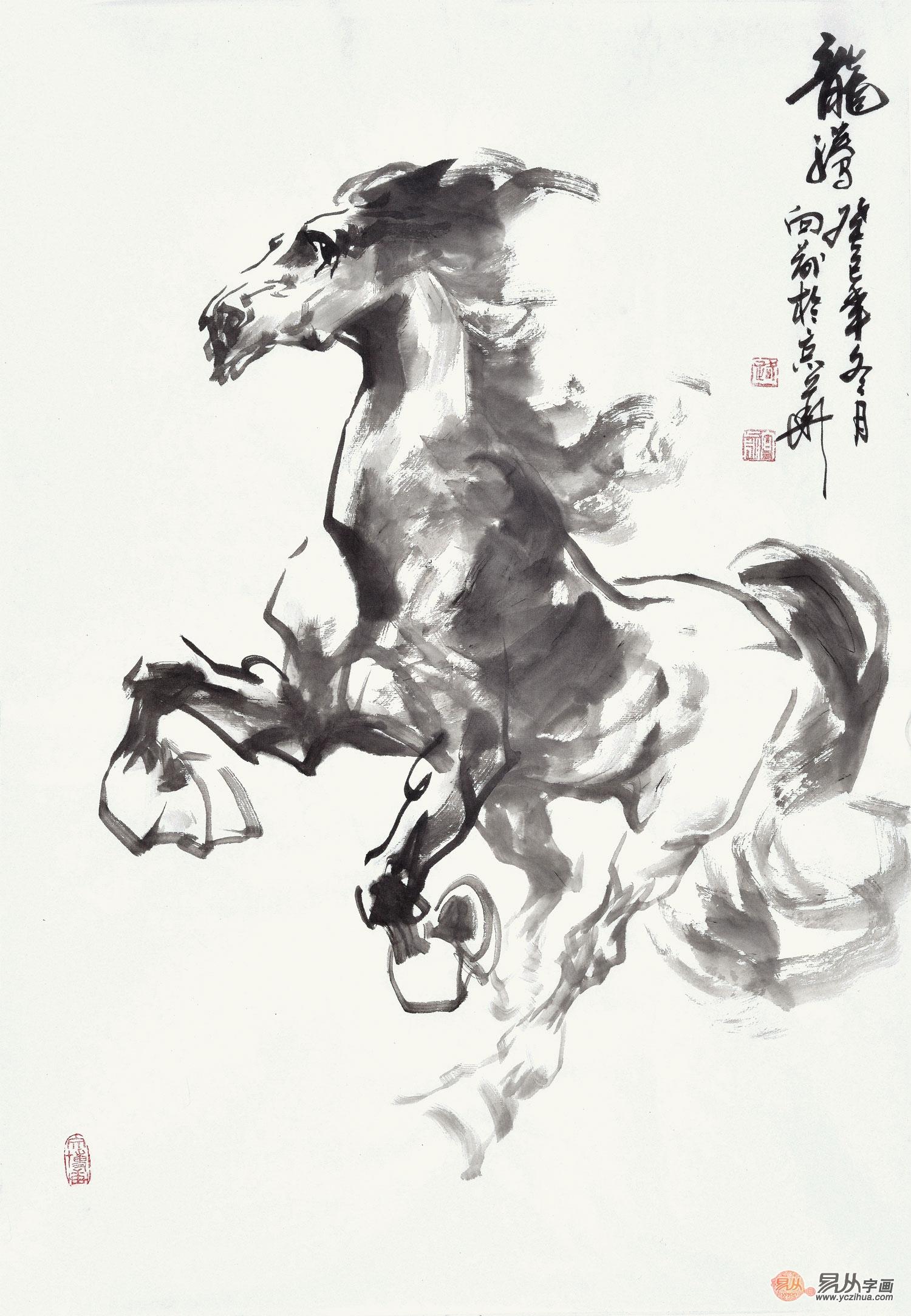 路向前四尺三开动物画作品马《龙腾》-【易从网】