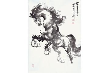 路向前四尺三开动物画作品《一马当先图六》