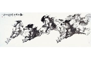 路向前小六尺横幅动物画作品《龙马精神之一》