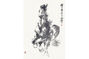 陈云鹏四尺三裁动物画骏马图作品《一马当先