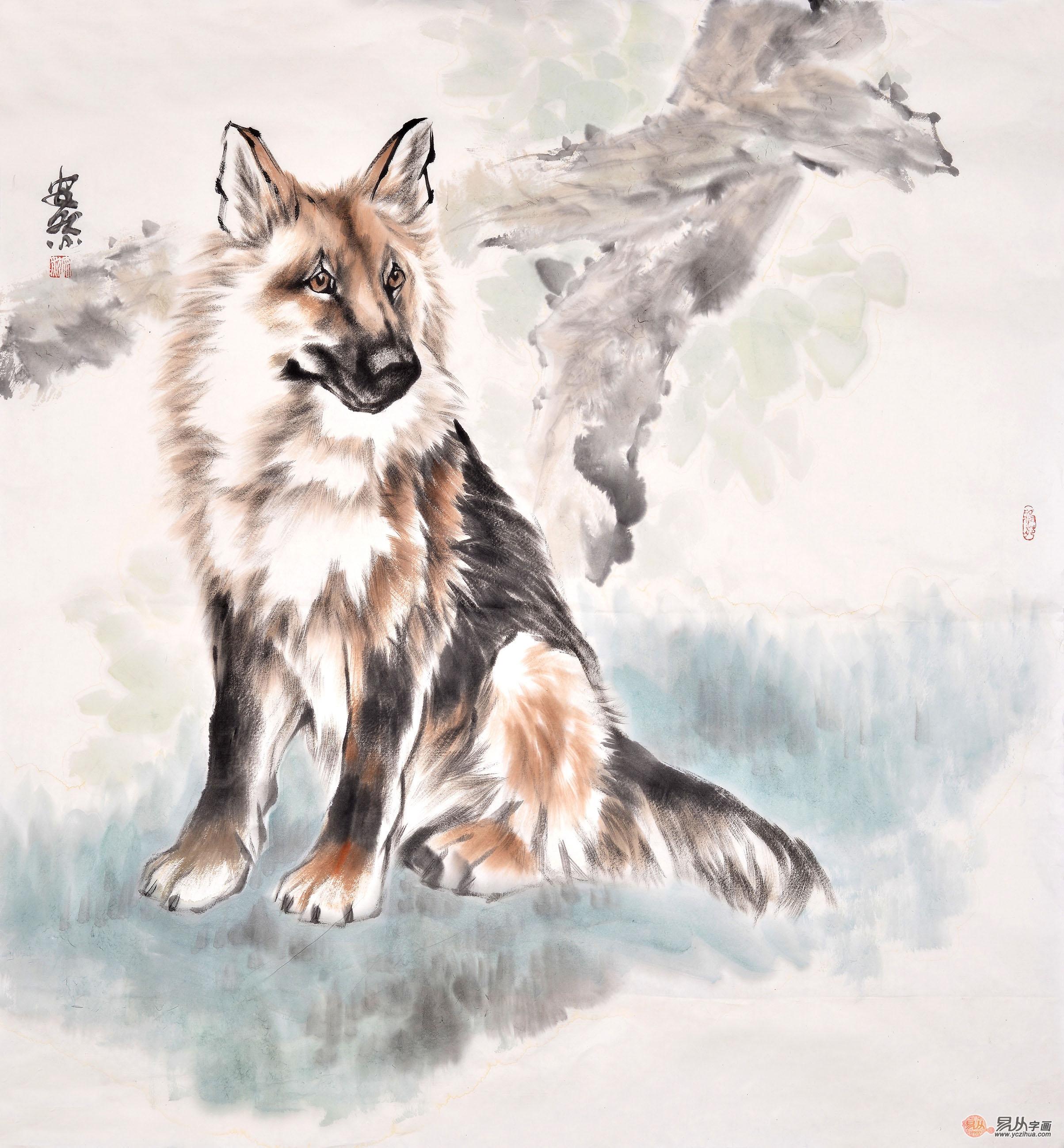 安然六尺斗方动物画作品《狗》-【易从网】