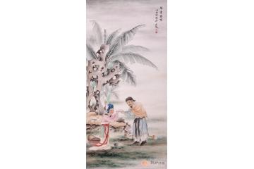 魏金嶺三尺豎幅人物畫作品《舉案齊眉》