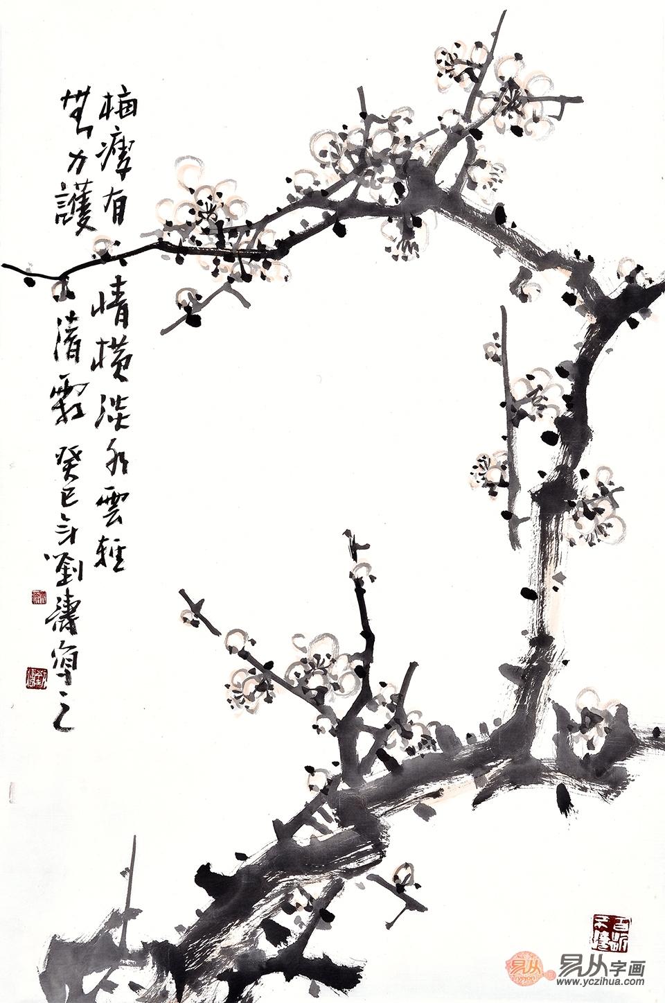 中国画写意梅花图片,请欣赏刘海军水墨梅花图