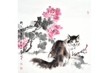 国画牡丹写意花鸟画-【易从网】