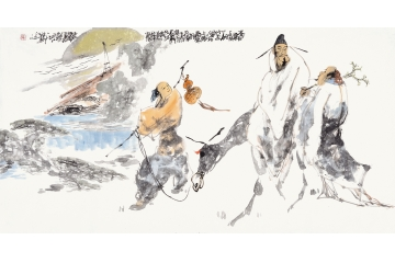 单吉牛四尺横幅人物画作品《李白诗意图》