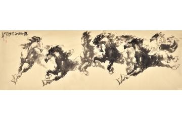 路向前小六尺横幅动物画作品《龙马精神之二》