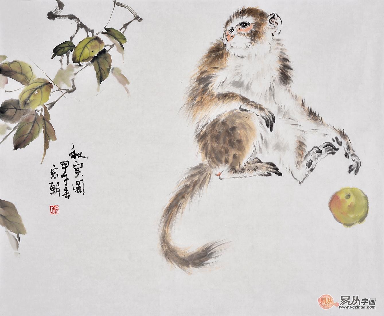 宋朝四尺斗方动物画作品猴子《秋实图》