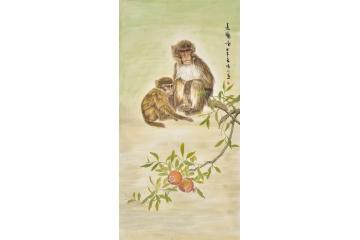 家居玄关挂画 叶晴川四尺竖幅动物画封侯图作品猴子《远瞩图》