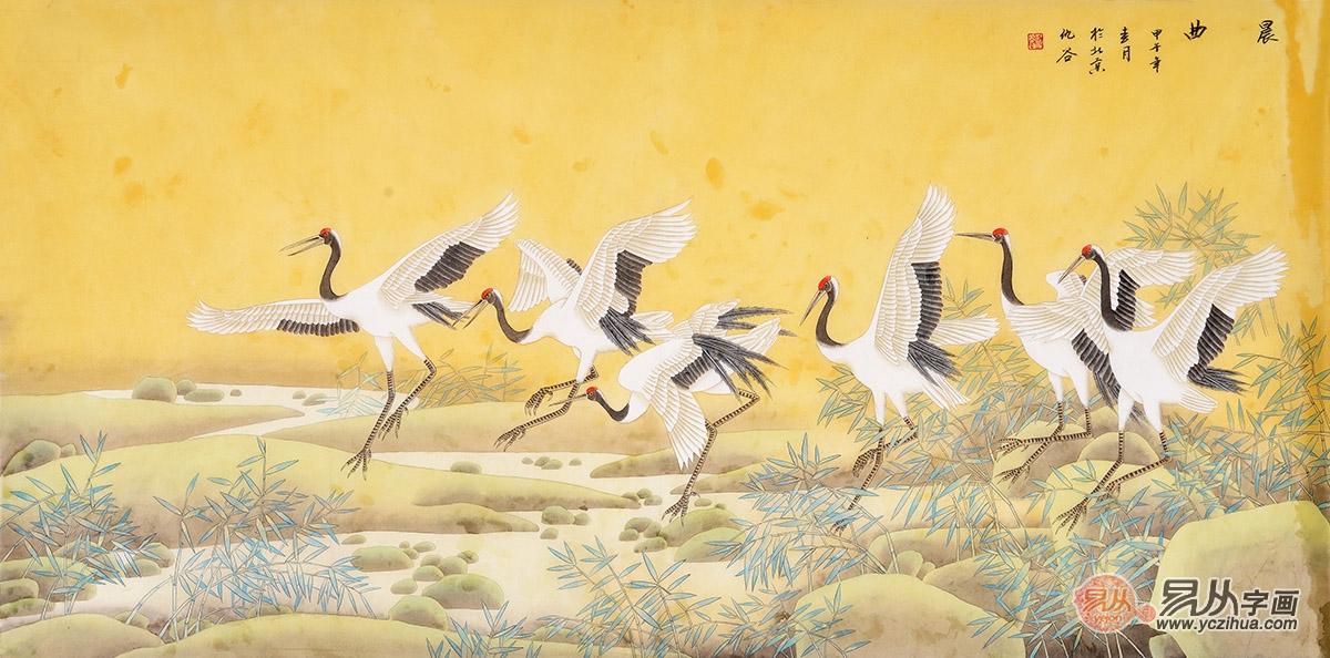 国画仙鹤 工笔仙鹤图的画法图片