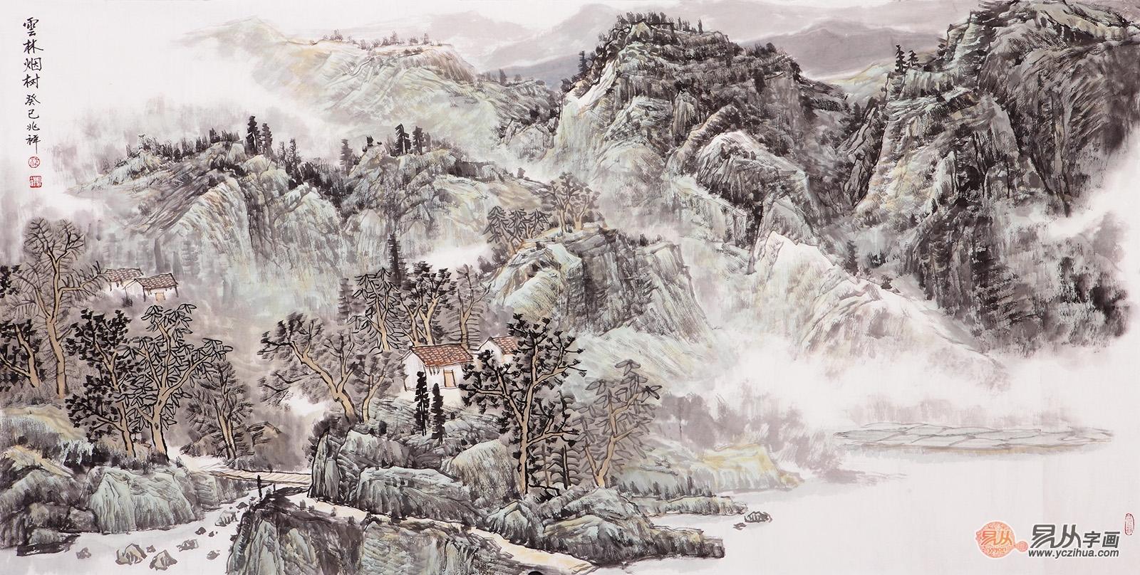 沈兆祥四尺横幅山水画作品《云林烟树》