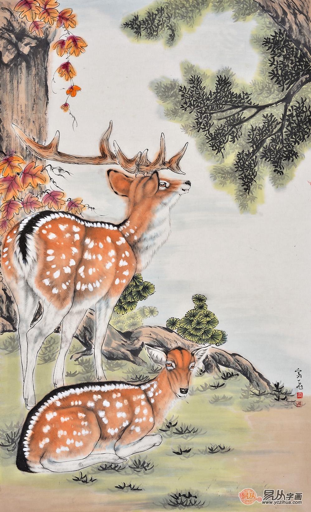 富飞三尺竖幅动物画作品梅花鹿《雌雄双鹿》