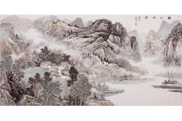 沈兆祥四尺横幅山水画作品《漓江帆影》