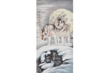 富飞四尺竖幅动物画作品《雪狼》