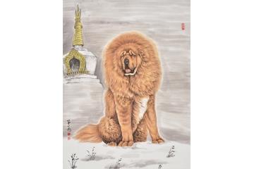 富飞三尺竖幅动物画作品狗犬《藏獒》