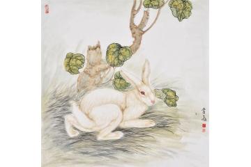 富飞四尺斗方动物画作品十二生肖系列《兔子》