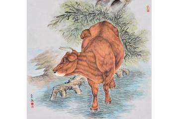富飞四尺斗方动物画作品十二生肖系列《牛》