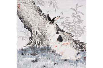 富飞四尺斗方动物画作品十二生肖系列兔子《双兔》