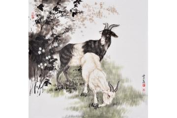 富飞四尺斗方动物画作品十二生肖系列《羊》
