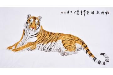 郭凤丽六尺横幅动物画老虎作品《宁静致远》