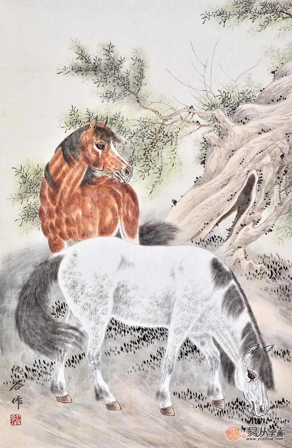 仇谷四尺三裁竖幅工笔动物画作品《双骏图》