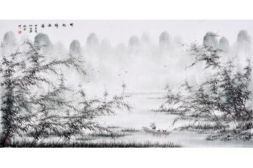 仇谷四尺横幅写意山水画作品《竹林归渔图》