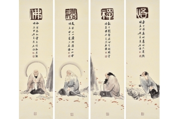 石慵人物畫《佛道禪悟》 石慵四條屏作品