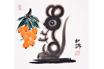纪端小尺寸动物画作品十二生肖之《鼠》