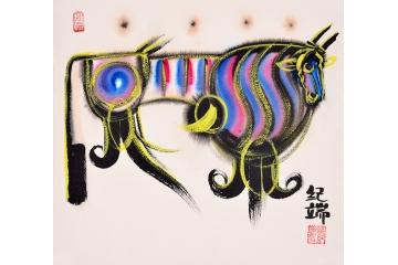 纪端小尺寸动物画作品十二生肖之《牛》