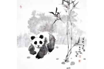 郭海林斗方动物画熊猫竹子《吉祥平安图》