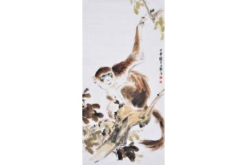 猴子可爱卡通动物画
