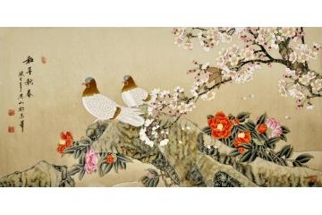 鸽牡丹图《和平新春》