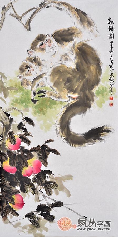王文强四尺竖幅猴子寿桃《献瑞图》-国画猴,猴年大吉猴图赏析