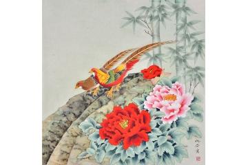 牡丹锦鸡图片易从网工笔画-仇谷 牡丹锦鸡图片