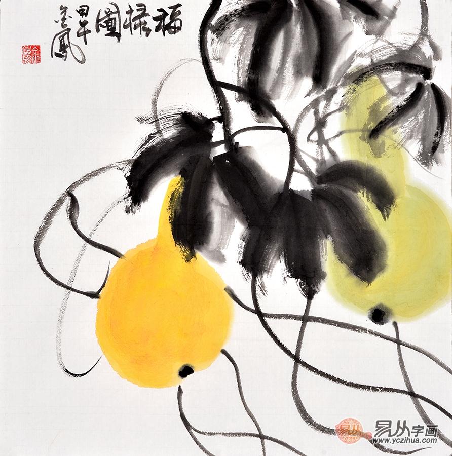 张金凤《福禄图》,三尺斗方写意画作品,国画葫芦-【易